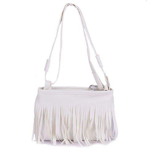 Stylish Solid Color and Fringe Design Crossbody Bag For Women - WHITE