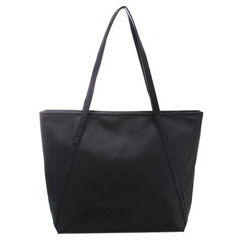 Elegant Solid Color and PU Leather Design Shoulder Bag For Women - BLACK