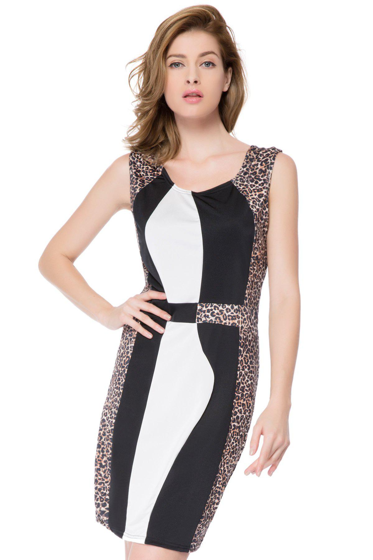 Sexy U-Neck Sleeveless Leopard Print Spliced Women's Dress - LEOPARD S