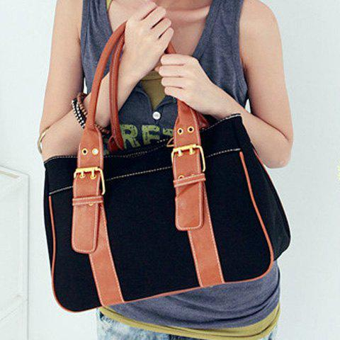 Retro Candy Color and Buckle Design Women's Tote Bag