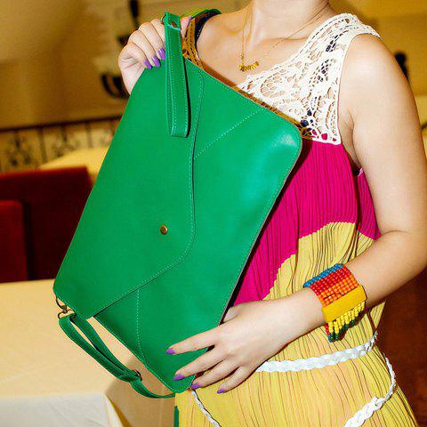 Fashionable Rivet and Envelop Design Clutch Bag For Women - GREEN