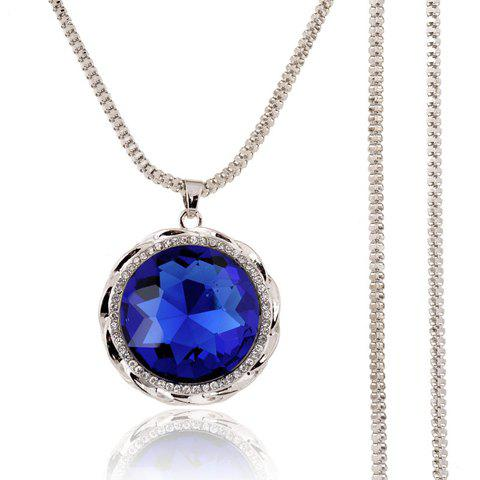 Chic Rhinestone Faux Gem Round Sweater Chain Necklace For Women - BLUE
