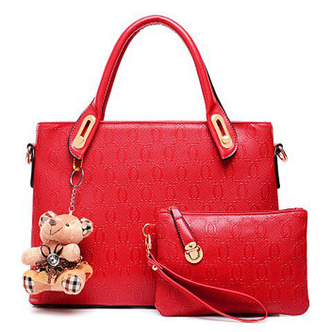 Trendy Bear Cub and Checked Design Tote Bag For Women - RED