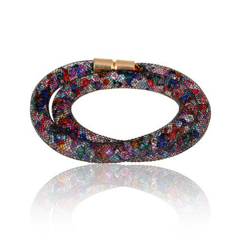 Stylish Colored Rhinestone Net Chain Bracelet For Women - COLORMIX