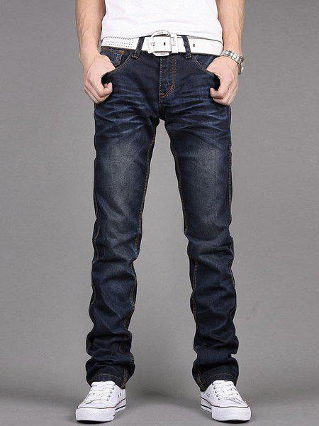 Stylish Zipper Fly Pocket and Button Embellished Slimming Bleach Wash Straight Leg Men's Jeans - DEEP BLUE 36