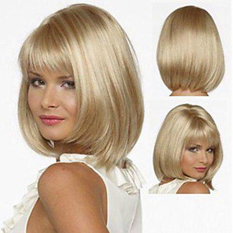 Women's Straight Light Golden Fashion Short Synthetic Wig With Full Bang