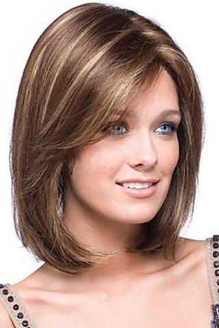 Elegant Short Straight Heat Resistant Synthetic Women's Wig With Side Bang