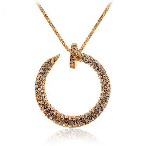 Trendy Rhinestone Round Sweater Chain Necklace For Women - GOLDEN