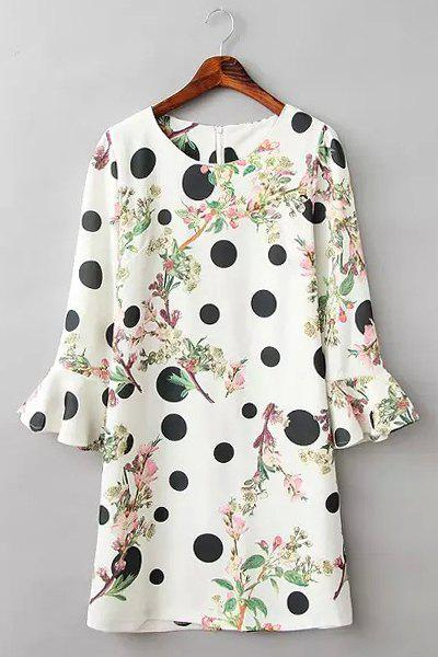 Sweet Round Collar Half Sleeve Polka Dot Printed Women's Dress - WHITE/BLACK S