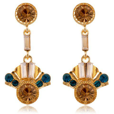 Pair of Ethnic Style Bohemian Rhinestone Embellished Geometric Women's Earrings - COPPER COLOR
