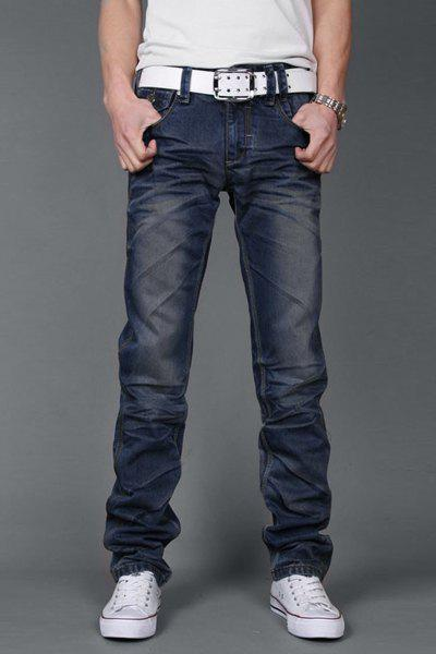 Laconic Pocket and Ruffles Design Zipper Fly Bleach Wash Slimming Straight Leg Men's Jeans - BLUE 32