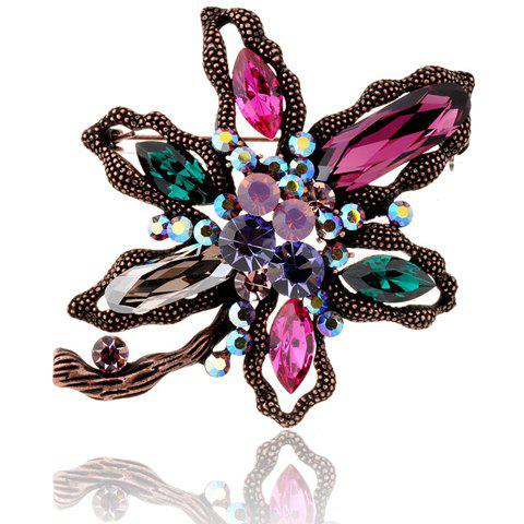 Cute Rhinestone Flower Colored Brooch For Women - COLORFUL