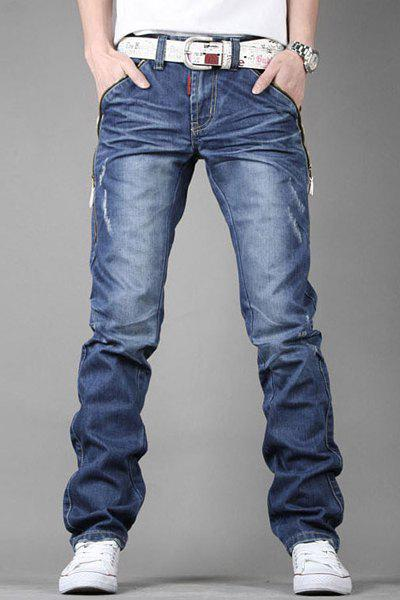 Stylish Personality Zipper Design Pocket Slimming Bleach Wash Straight Leg Men's Jeans - BLUE 32