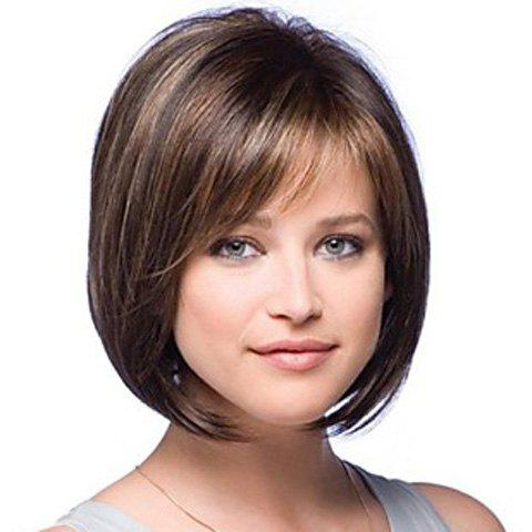 Fluffy Pear Brown Mixed Blond Straight Hair Synthetic Side Bang Wig For Women - COLORMIX