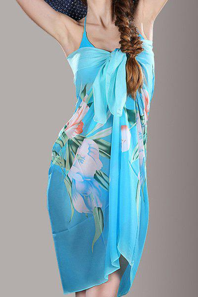 Chic Lily Flower Pattern Color Block Women's Chiffon Scarf - AZURE