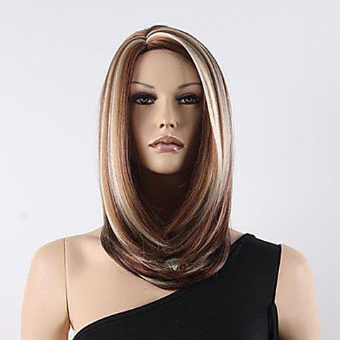 Sparkle Mix Color Middle Length Straight Synthetic Wig For Women - COLORMIX