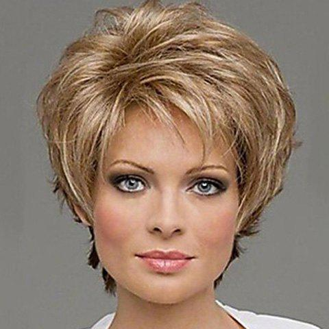 Extra Short Mix Color Synthetic Natural Curly Hair Wig With Side Bang For Women - COLORMIX