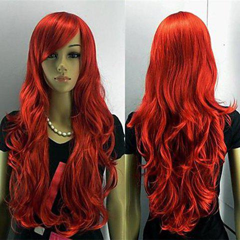 Chic Red Side Bang Long and Curly Synthetic Wig For Women - RED
