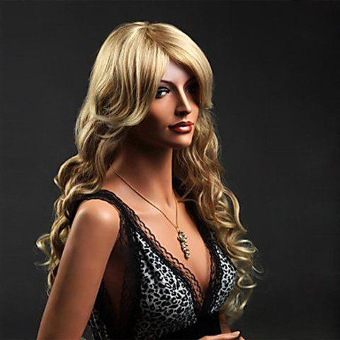 Attractive Side Bang Blonde Deep Wave Synthetic Wig For Women - AS THE PICTURE