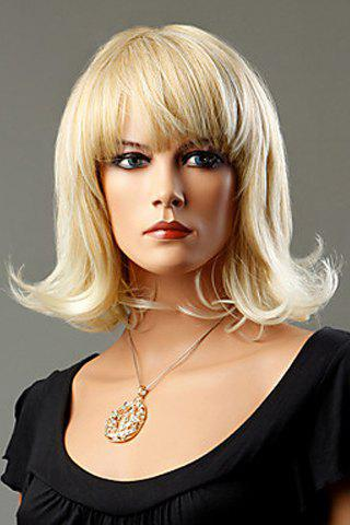 Casual Full Bang Ash Blonde Synthetic Short Curly Wig For Women