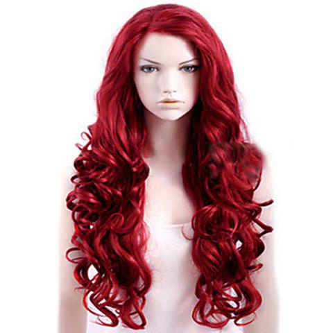 Attractive Red Long Deep Wave Synthetic Wig For Women - RED
