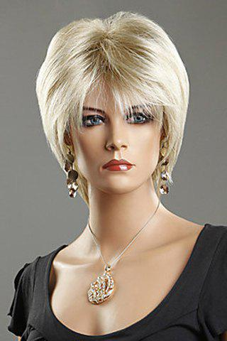 Chic Short Silver Straight Heat-Resistant Synthetic Wig For Women - LIGHT GOLD