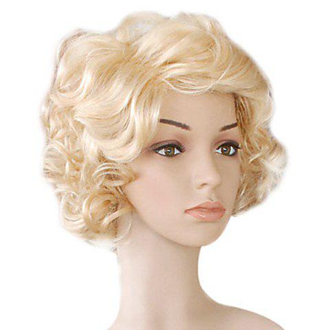 Splendid Short Curly Light Blonde Synthetic Wig For Women - LIGHT GOLD