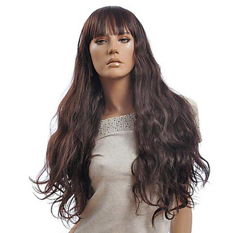 Fashionable Full Bang Long Wave Brown Synthetic Wig For Women - DEEP BROWN