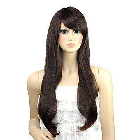 Cute Long Wavy Brown Side Bang Synthetic Wig For Women - DEEP BROWN