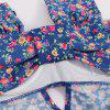 Alluring Sweetheart Neck Tiny Floral Print One-Piece Swimsuit For Women - BLUE XL