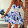 Stylish Spaghetti Strap Floral Print Lace Splicing Dress For Women - BLUE M