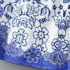 Elegant Sequined Totem Embroidery Round Collar Sleeveless Cheongsam For Women - BLUE/WHITE L