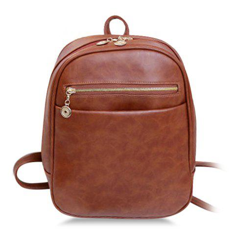 Stylish PU Leather and Solid Color Design Satchel For Women - BROWN