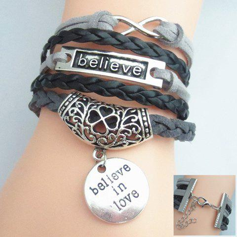 Letter Infinity Engraved Flower Pattern Weaved Layered Friendship Bracelet - COLORMIX