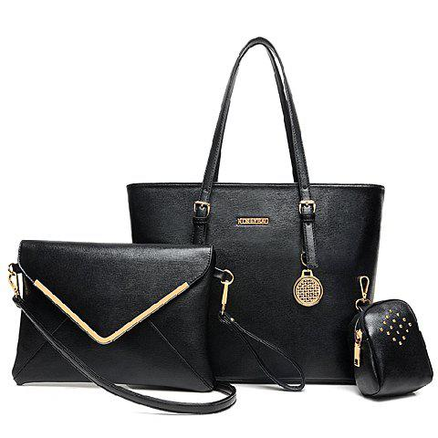 Gorgeous Buckles and Metallic Pendant Design Shoulder Bag For Women - BLACK