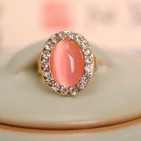 Oval Shape Faux Opal Rhinestone Decorated Ring - GOLDEN ONE-SIZE