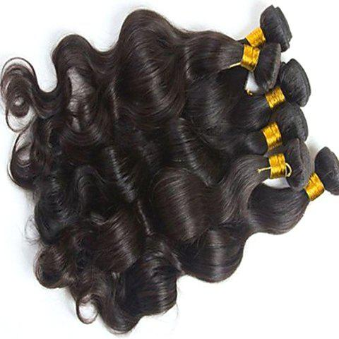 Fluffy 5A Indian Virgin Hair Natural Black Body Wavy Women's Remy Human Hair Weft 20 Inch -