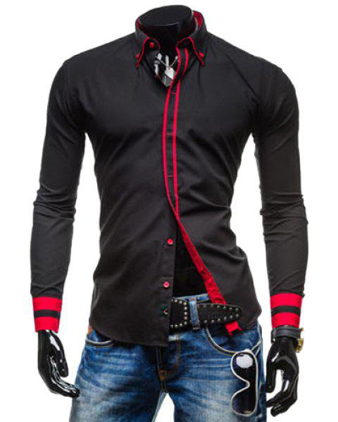 Leisure Turn-down Collar Classic Color Block Button Fly Slimming Long Sleeves Men's Shirt - BLACK L
