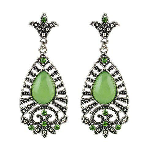 Pair of Chic Retro Style Water Drop Shape Faux Gem Decorated Hollow Out Women's Earrings - GREEN