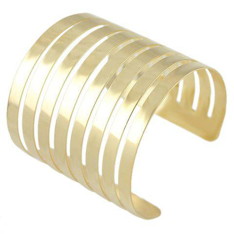 Characteristic Solid Color Multi-Layered Hollow Out Cuff Women's Bracelet - GOLDEN