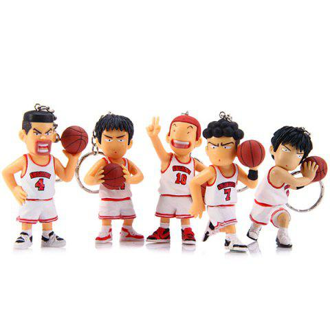 5pcs Key Rings with Anime Slam Dunk Main Characters Figures / Figurine Models - 7.3cm - WHITE