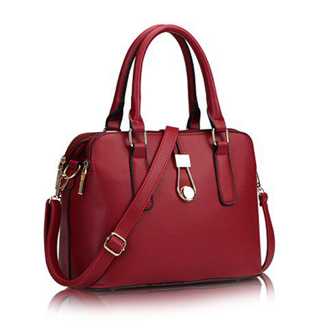 Simple Hasp and Solid Color Design Tote Bag For Women - WINE RED