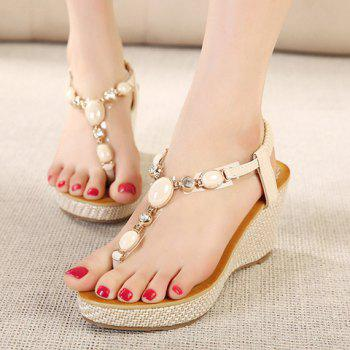 Trendy Flip-Flop and Beading Design Sandals For Women - OFF WHITE 36