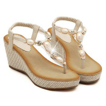 Trendy Flip-Flop and Beading Design Sandals For Women