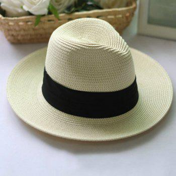 Classical Broad Hem Ribbon Embellished Folding Sun Hat For Women -  BEIGE