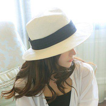 Classical Broad Hem Ribbon Embellished Folding Sun Hat For Women - BEIGE BEIGE