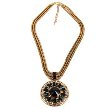 Ethnic Rhinestone Round Pendant Design Necklace For Women