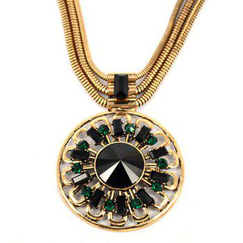 Ethnic Rhinestone Round Pendant Design Necklace For Women - AS THE PICTURE
