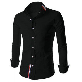 Fashion Buttons Design Stripes Splicing Shirt Collar Long Sleeve Slimming Men's Polyester Shirt - L L