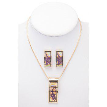 Pattern Decorated Geometric Shape Necklace And Earrings
